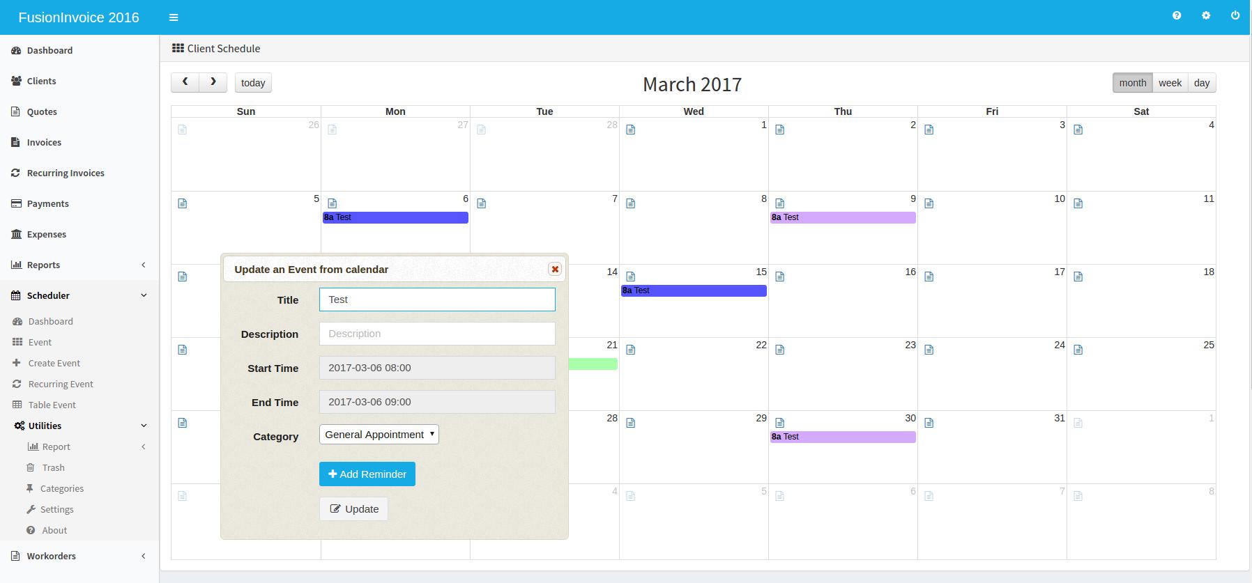 Scheduler Addon for FusionInvoice v2.1.1